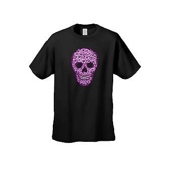 Flor rosa unisex azúcar cráneo Calavera largo manga camiseta