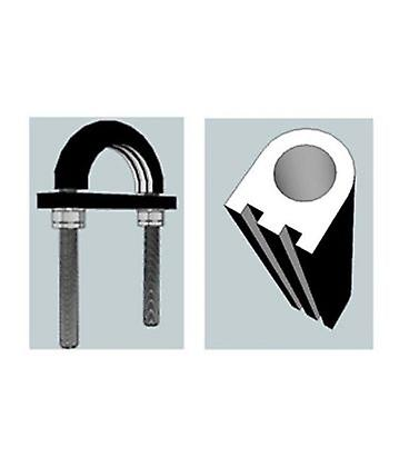 Light Duty Flame Retardant Anti-vibration Rubber Lined U-bolt 61 Mm Id (suit 50 Mm Nb Pipe) - High Tensile Galvanised
