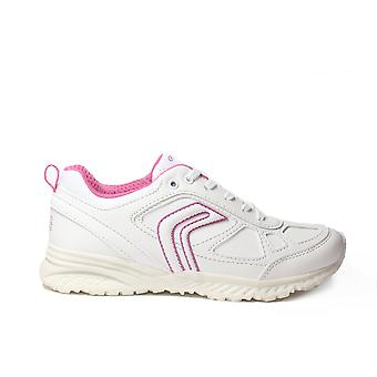 Geox Bernie J6411I White/Pink Leather School Lace Up Trainer