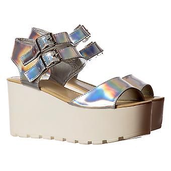 Onlineshoe Double Buckle Summer Sandals - Chunky Wedge