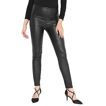 KRISP Women Ladies PVC Faux Leather Trousers Pull On Fitted Skinny Stretch Pants Plus