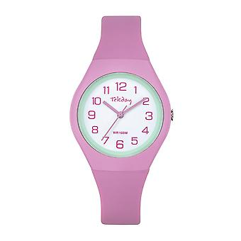 Watch Tekday 654630-silikoni vaaleanpunainen laatikko ranne koru silikoni vihreä tyttö