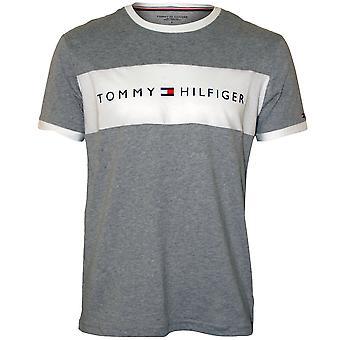 Tommy Hilfiger Logo Block Crew-Neck T-Shirt aus Baumwolle, Grey Heather