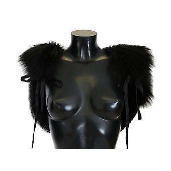 Dolce & Gabbana Black Silver Fox Fur Scarf