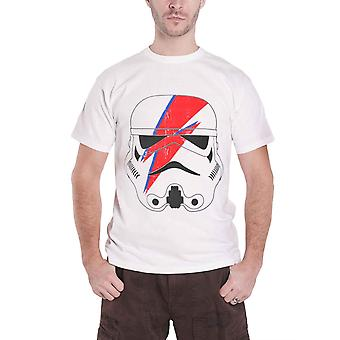 Official Mens Star Wars T Shirt Stormtrooper Glam Lightning Bolt new White