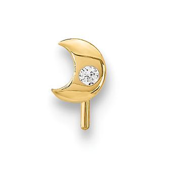 1.95mm 14k CZ Zirconia Cúbica Simulado Diamante Celestial Lua Crada de Joias para Mulheres