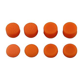 Thumbstick grips for ps4 sony controller rubber silicone grip cover - 8 pack orange | zedlabz