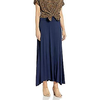 AGB Women's Timeless Soft Knit Maxi Skirt (Petite and Standard, Navy, Size Large