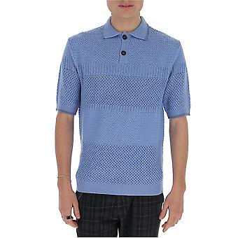 Marni Pomg0019s17220s17220 Men's Light Blue Wool Polo Shirt