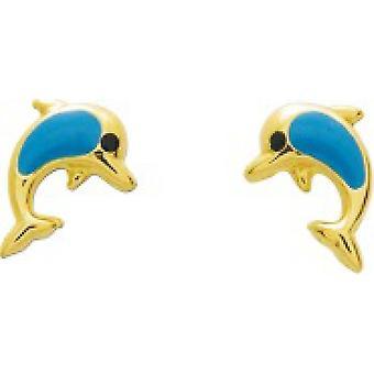 Ohrringe Dolphins laqui s blau gold 750/1000 gelb (18K)
