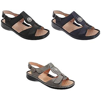 Boulevard Womens/Ladies Touch Fastening Halter Back Applique Jewel Sandals