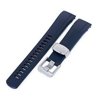 Strapcode rubber watch strap 22mm crafter blue - dark blue rubber curved lug watch strap for seiko samurai srpb51