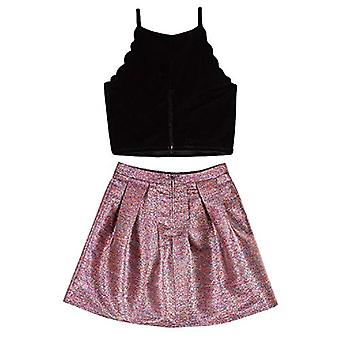 Amy Byer Girls' Scalloped Top and Party Skirt Set, Fuchsia/Teal &, Gold, Size 10