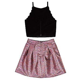 Amy Byer Girls' Scalloped Top și Party Skirt Set, Fuchsia/Teal &, Gold, Mărimea 10