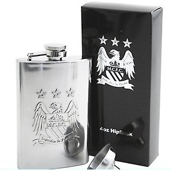 Manchester City FC Official Football Gift Boxed 4oz Chrome Hip Flask
