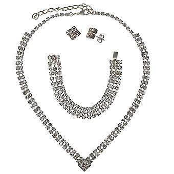 The Olivia Collection Glass Set Necklace Stud Earrings and Bracelet Gift Set