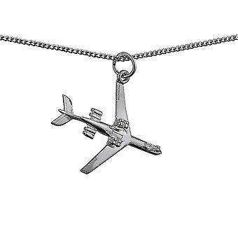 Silver 24x29mm Aeroplane Pendant with a curb Chain 24 inches
