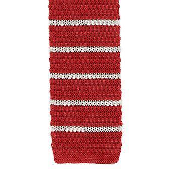 Michelsons Londyn jedwabiu dziana paski Tie chudy - biało czerwony