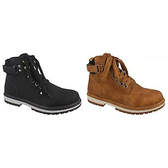 Spot On Womens/Ladies Lace Up Strap Ankle Boots