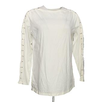 Belle by Kim Gravel Women's Top Triple Luxe Knit Lace up White A301559