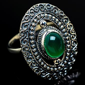 Green Onyx Ring Size 8.75 (925 Sterling Silver)  - Handmade Boho Vintage Jewelry RING7813