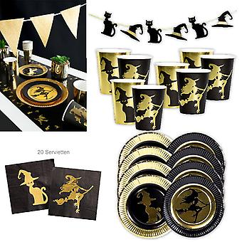 Witch Party Witch Gold Party Set XL 38-piece for 8 guests Halloween Witch Decoration Party Package