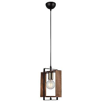 Lámpara de suspensión Karo Color Oro, Negro, Madera Metálica, Madera, L14xP22xA82 cm