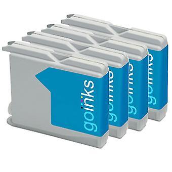4 Cyaan inktcartridges ter vervanging van Brother LC970C & LC1000C Compatible/non-OEM by Go-inkten