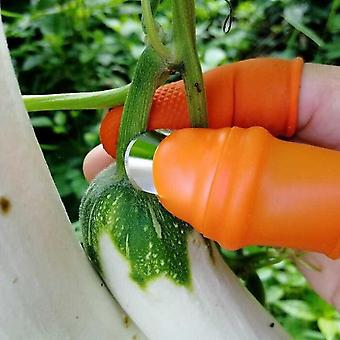 Silicone Thumb Cutter Set, Stainless Steel Vegetable & Fruit Harvesting Plant