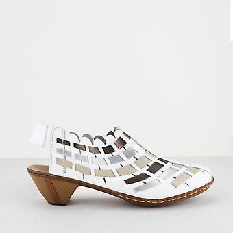 Rieker 46778-81 Ladies Leather Block Heel Shoes White