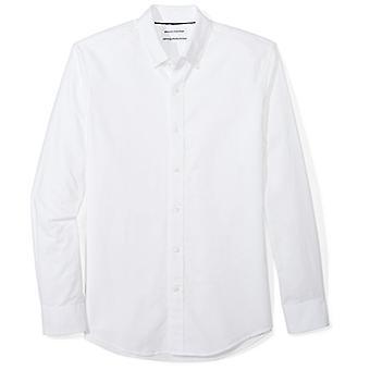 Essentials Men's Slim-Fit Long-Sleeve Solid Oxford Shirt, Branco, Grande