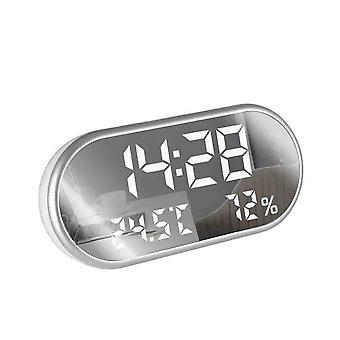 Digitale usb wekker draagbare spiegel hd led display time humidity temp display USB-poort opladen elektronische hygrometer klok dempen huisdecoratie