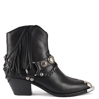 Ash FARROW Fringed Boots Black Leather