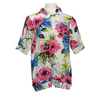 Quacker Factory Women's Sweater Floral Printed White A346154