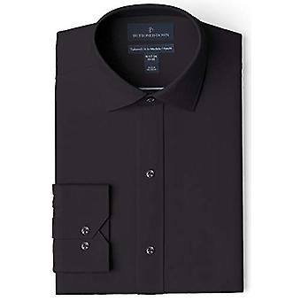 """BUTTONED DOWN Heren's Tailored Fit Spread-Collar Solid Non-Iron Dress Shirt, Black 15.5"""" Neck 34"""" Sleeve"""
