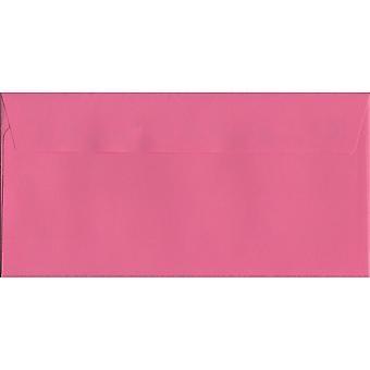Flamingo roze Peel/Seal DL + gekleurde roze enveloppen. 120gsm luxe FSC gecertificeerd papier. 114 mm x 229 mm. portemonnee stijl envelop.