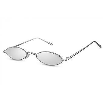 النظارات الشمسية السيدات بيضاوية القط بلا حواف. 3 فضة/ فضة