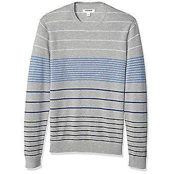 Goodthreads Men's Soft Cotton Multi-Color Striped Crewneck Sweater, Grey Grad...