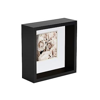 Nicola Spring 2 Piece 4 x 4 3D Shadow Deep Box Photo Frame Set - Craft Display Picture Frame - Black