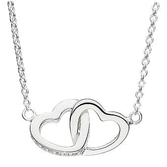 Dew Silver Double Linked Heart With Cubic Zirconia 18 Necklace 9072CZ024