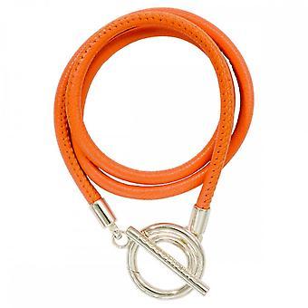 Nikki Lissoni oranje lederen zilveren vergulde wrap armband