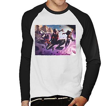 Marvel Contest Of Champions Spider Man Miles Morales Men's Baseball Long Sleeved T-Shirt