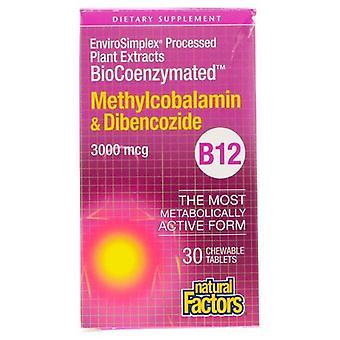 Luonnolliset tekijät BioCoenzymated Metyylikobalamiini & Dibenkotsidi, 3000mcg, 30 Tabs