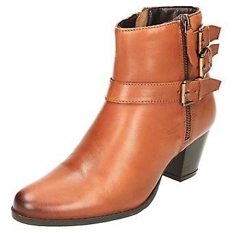 Comfort Plus Wide E Fitting Leather Ankle Boots Mid Heel
