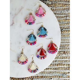 rainbow perler med bomull garn dusk hoop øredobber