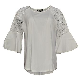 DG2 by Diane Gilman Women's Top Ivory Tunic Cotton 3/4 Sleeve 703-779