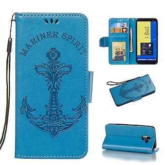 Pressed Printing Mermaid Anchor Pattern Horizontal Flip PU Leather Case for Galaxy J6 (2018) EU Version, avec Holder & Fentes de carte & Portefeuille & Photo Fra