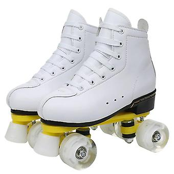 Lether Roller Skate Shoes- Man / Woman Double Row Outdoor 4 Wheel Training