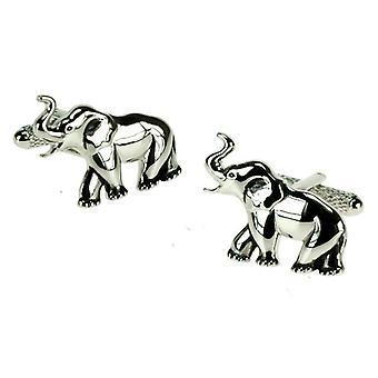 Siteet Planeetta Elefantti Rhodium Pinnoitettu Cufflinks