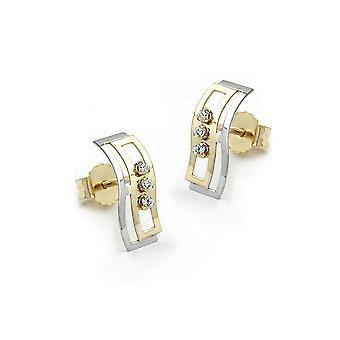 Stud Earrings Bi-coloured Zirconia 9k Gold
